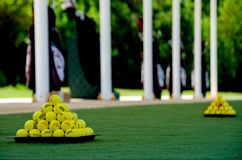 Practice range of a luxury golf club. Picture of golf equipment taken at a golf course facilities Stock Photo
