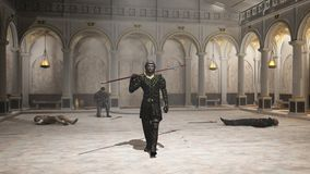 The Practice Session. Fantasy style spearman in black leather armour leaving a training hall as the victor, with wounded men lying and kneeling on the floor, 3d Royalty Free Stock Photos