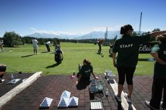 Practice staff in Crans-montana golf Masters Stock Photography