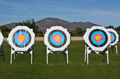 Practice targets at archery field no shadow Royalty Free Stock Photo