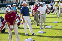 Practice Tee. Lee Westwood, Ernie Els, Edoardo Molinari, Retief Goosen, Padriag Harrington, Justin Rose, all on the practice tee, warming up for the days play Stock Photo