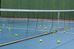 Practice Tennis Balls On Court Royalty Free Stock Photography