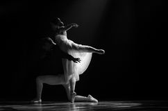 Practice of two ballet dancer end post black and w. Practice of Two ballet dancer posting for end of the show. Black and white picture style Stock Photography