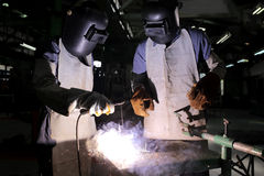 Practice wearing a welding mask. For safety Royalty Free Stock Photography