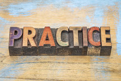 Practice word in wood type Royalty Free Stock Images