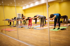 The practice of yoga in the fitness gym Royalty Free Stock Photography