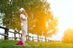 Practice yoga in nature Royalty Free Stock Photos