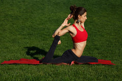 Practice yoga - relax in nature. Woman practices yoga in nature Royalty Free Stock Photos