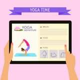 Practice of yoga theme. Conceptual illustration with hands holding digital tablet and pointing on screen with website about yoga Royalty Free Stock Photos