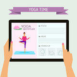 Practice of yoga theme. Conceptual illustration with hands holding digital tablet and pointing on screen with website about yoga Royalty Free Stock Photo