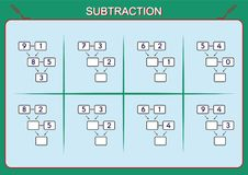 Practice your subtraction 0 to 10, math worksheet for kids Stock Photo