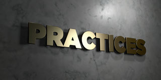 Practices - Gold sign mounted on glossy marble wall  - 3D rendered royalty free stock illustration Stock Photography