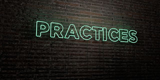 PRACTICES -Realistic Neon Sign on Brick Wall background - 3D rendered royalty free stock image. Can be used for online banner ads and direct mailers vector illustration