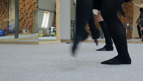 Practicing of ballet on carpet in dancing class. stock footage