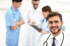 Practicing doctor in the clinic royalty free stock photography