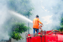 Practicing fire protection plan Royalty Free Stock Images