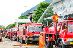 Practicing fire protection plan Stock Image