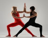 Practicing gymnastic yoga Royalty Free Stock Image