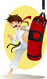 Practicing karate. A  illustration of a teenage boy practicing karate Royalty Free Stock Photo