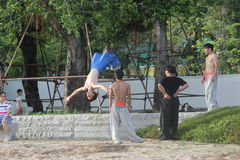 Practicing kung fu of the youth in SHENZHEN,CHINA,ASIA Royalty Free Stock Images