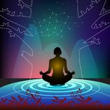 Practicing meditation to pure soul stock illustration