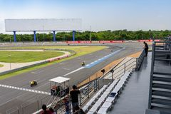The practicing of motocycle drivers at Buriram International Circuit. Buriram, Thailand - June 18, 2017: The practicing of motorcycle racing at Chang Royalty Free Stock Image