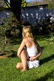 practicing woman yoga Fotografering för Bildbyråer