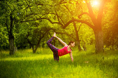 Free Practicing Yoga Asanas In Nature. Royalty Free Stock Photo - 97118225