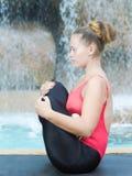 Practicing yoga. Garbhasana Royalty Free Stock Image