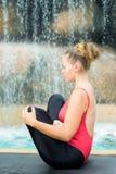 Practicing yoga. Garbhasana Stock Images