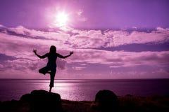 Practicing Yoga on Maui Stock Photo