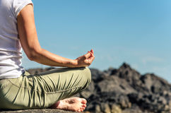 Practicing Yoga Outdoor Royalty Free Stock Images