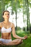 Practicing of yoga outdoors. Stock Photos