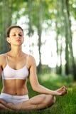 Practicing of yoga outdoors. Stock Photos