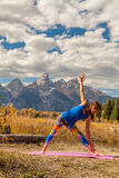 Practicing Yoga in the Tetons Stock Photography