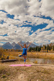 Practicing Yoga in the Tetons Stock Images