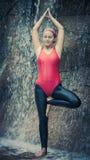 Practicing yoga. Vriksasana Stock Images