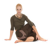 Practicing Yoga. Young woman Royalty Free Stock Photo