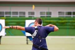 Practique el tiro al arco, deporte de las personas nacionales tailandesas Imagen de archivo
