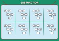Practique su substracción 0 a 10, hoja de trabajo de la matemáticas para los niños Foto de archivo