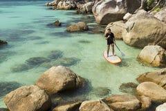 Practise paddle surf. Man practise paddle surf in Koh Lipe, Thailand Royalty Free Stock Images
