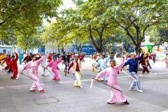 Practise Taiji Sword. Liuzhou, China,November 17:Many old people Taiji Sword in the park Royalty Free Stock Photos