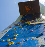 Practising free climbing. Detail of the wall for practicing free climbing Stock Images