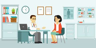 Medicine concept with doctor and patient in flat style. Practitioner doctor man and young woman patient in hospital medical office. Consultation and diagnosis stock illustration