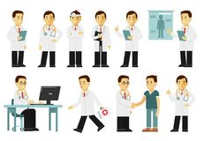 Medicine people character set in flat style isolated on white background. Practitioner young doctor man in different poses and situations. Medical staff Royalty Free Stock Image
