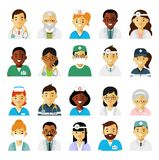 Medicine set with doctors and nurses avatars in flat style isolated on white background. Practitioner young doctors man and woman icons. Medical staff Royalty Free Stock Photography