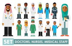 Medicine set with muslim arabic doctors and nurses in flat style isolated on white background. Practitioner young islam doctors man and woman in hijab standing Stock Image