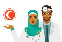 Medicine concept with muslim arabic doctors and crescent sign in flat style isolated on white background. Practitioner young islam doctors man and woman in Stock Images