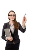 Pracująca dama z papierem odizolowywającym na bielu Zdjęcie Royalty Free