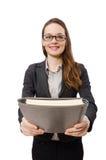 Pracująca dama z papierem odizolowywającym na bielu Fotografia Royalty Free